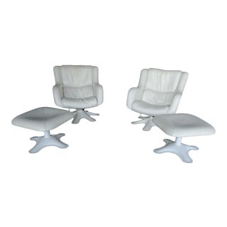 Space Age Haime Chairs and Ottomans by Kukkapuro Finland - 4 Pieces For Sale