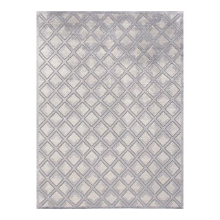 Stark New Oriental Tibetan Gray Diamonds Wool Rug - 10′ × 14′