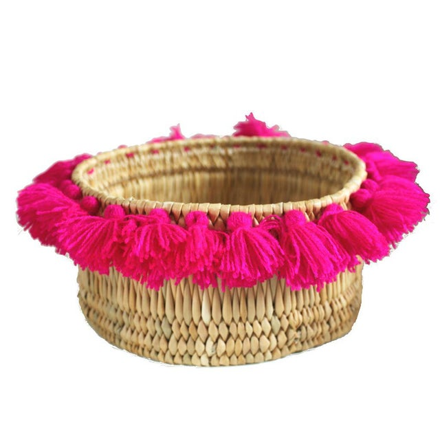 Moroccan Fuchsia Tassel Small Basket For Sale - Image 4 of 4