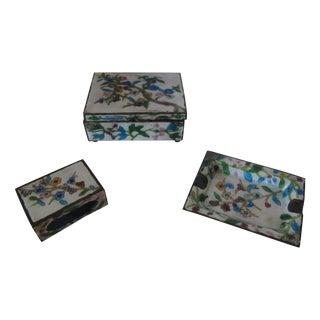 Antique Cloisonné Three-Piece Smoking Set