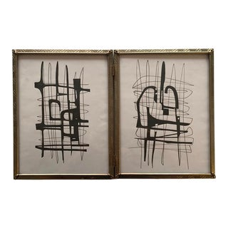 Original Abstract Framed Black and White Drawings - Set of 2 For Sale