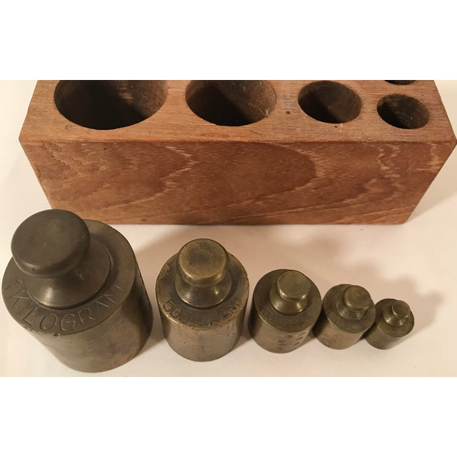 Industrial Vintage Brass Weights in Wooden Case - Set of 5 For Sale - Image 3 of 11