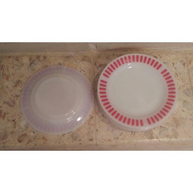 Hazel Atlas Red Candy Stripe Dinner Plates - Set of 8 For Sale - Image 5 of 11