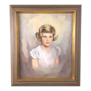 Vintage Mid-Century Portrait of Blond Young Girl Signed Painting For Sale
