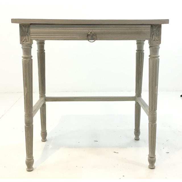 Metal Currey & Co. French Country Style Lysanne Gray Wood End Table For Sale - Image 7 of 7