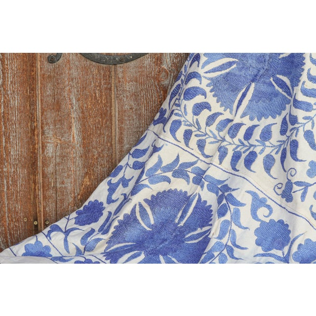 Blue Blue Suzani Tapestry Throw For Sale - Image 8 of 9