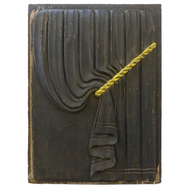 Art Deco Pair of Early 20th Century Carved Wood Funeral Coach Curtain Panels For Sale - Image 3 of 5