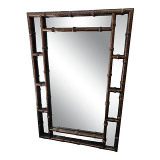 Hollywood Regency Style Mid Century Modern Faux Bamboo Mirror For Sale