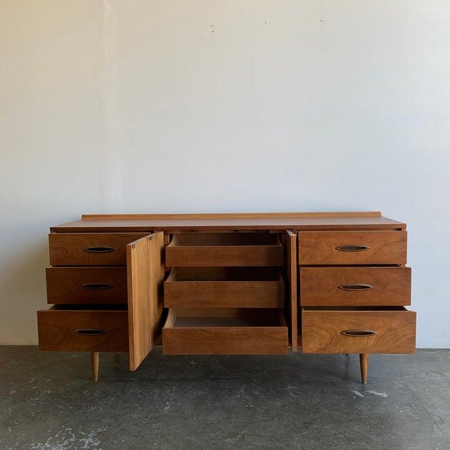 Wood Mid Century Broyhill Sculptra Triple Dresser For Sale - Image 7 of 13