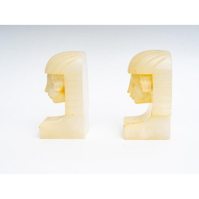 Egyptian Revival Art Deco Alabaster Bookends - a Pair For Sale - Image 9 of 11