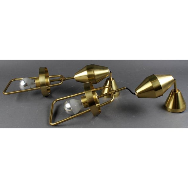 Adjustable Danish P 295 Brass Hanging Lamp by Frits Schlegel for Lyfa, 1960s For Sale - Image 6 of 8
