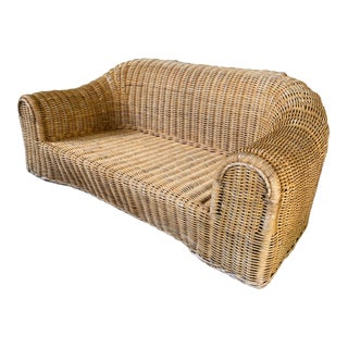 Sculptural Wicker Sofa in the Manner of Michael Taylor For Sale