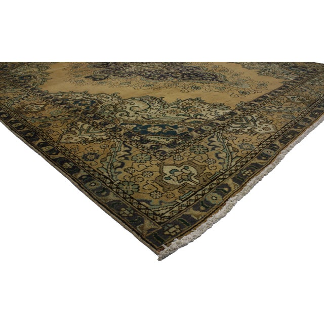 Vintage Persian Tabriz Rug With Neoclassical Glamour, 9'10 X 11'2 - Image 3 of 6