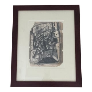Abstract Charcoal Drawing by Irving Lehman For Sale