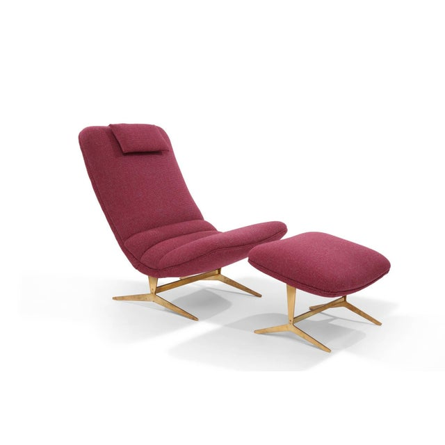 Stunning Italian lounge chair and ottoman, circa late 1950s. These examples have beautifully patinated solid brass bases...