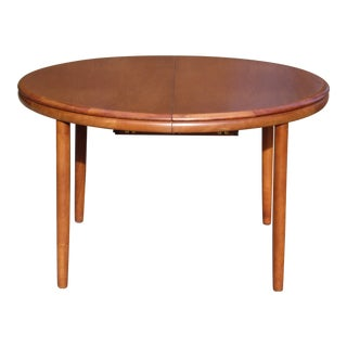 Vintage Mid Century Danish Modern Teak Extension Dining Table For Sale