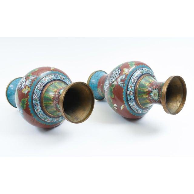 Late 19th Century Cloisonné Floral Decorative Vases - a Pair For Sale - Image 10 of 13