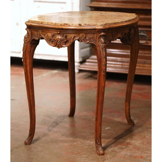 19th Century French Louis XV Carved Oak Side Table With Beige Marble Top For Sale - Image 9 of 13