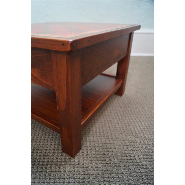 Solid Pine Primitive Checkerboard Top Side Table - Image 10 of 10