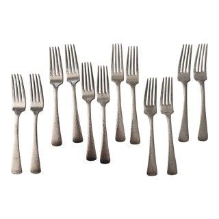 Vintage Epns Hammered Silver Plate Dinner Forks- Set of 10 For Sale
