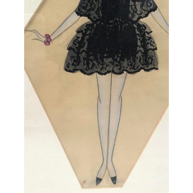 Art Deco Period Fashion Costume Drawing of Venetian Woman For Sale - Image 4 of 10