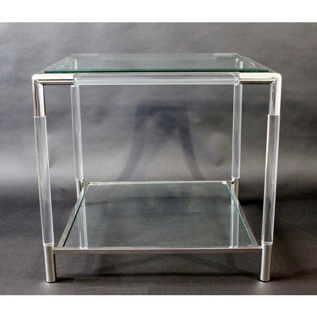 Charles Hollis Jones Mid-Century Modern Charles Hollis Jones Era Chrome Lucite Glass Coffee Table For Sale - Image 4 of 9
