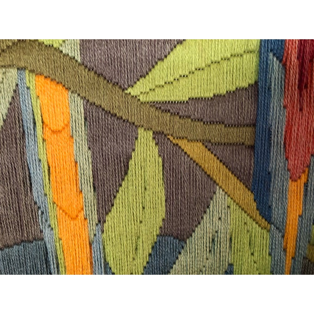 Textile Mid-Century Modern Hand Crafted Parrot Needlepoint Artwork in Lucite Frame For Sale - Image 7 of 11