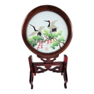 Vintage Chinese Silk Embroidered Bird Art For Sale