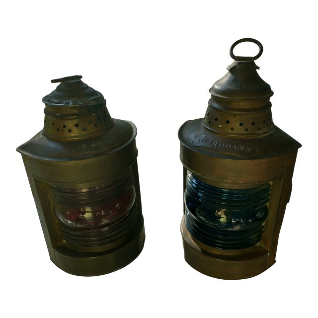 Mid 20th Century Copper Nautical Lanterns - a Pair For Sale