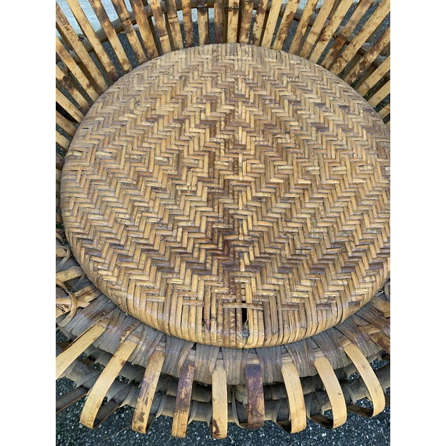 Franco Albini Franco Abini Style Rattan Bamboo Chair For Sale - Image 4 of 13
