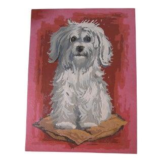 Vintage Maltese Dog Painting