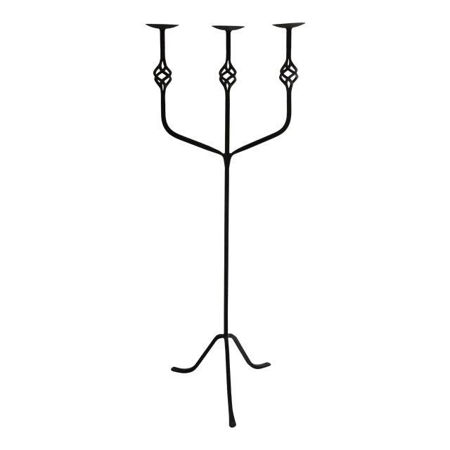 "Spanish Black Wrought Iron Floor 3-Pillar Candelabra - 55"" For Sale"