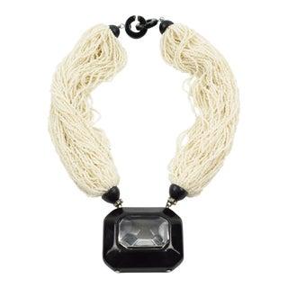 Angela Caputi Pearl Seeds Multi-Strand Statement Choker Necklace Large Pendant For Sale