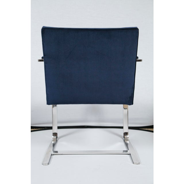 Brno Flat Bar Navy Velvet Chairs - S/6 For Sale - Image 5 of 9
