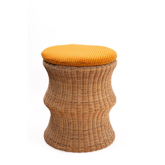 Boho Chic Eero Aarnio Wicker & Upholstered Ottomans or Stools (4 Available) For Sale - Image 3 of 5