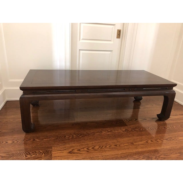 Purchased in 2006 from Big Pagoda furniture store in San Francisco, this coffee table is solid walnut with a dark java...