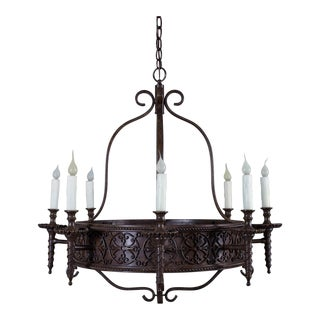 Vintage French Iron Chandelier Eight Lights circa 1920 For Sale