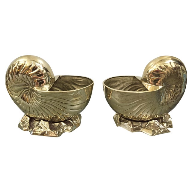 Vintage Brass Nautilus Shell Planters - A Pair - Image 1 of 8