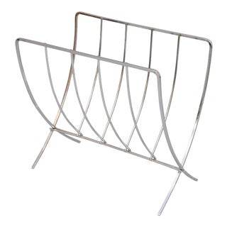 Mid-Century Chrome Folding Newspaper Stand For Sale