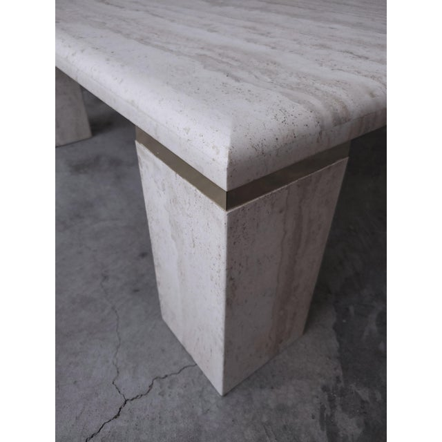 Vintage Square Italian Travertine Coffee Table For Sale In Las Vegas - Image 6 of 7