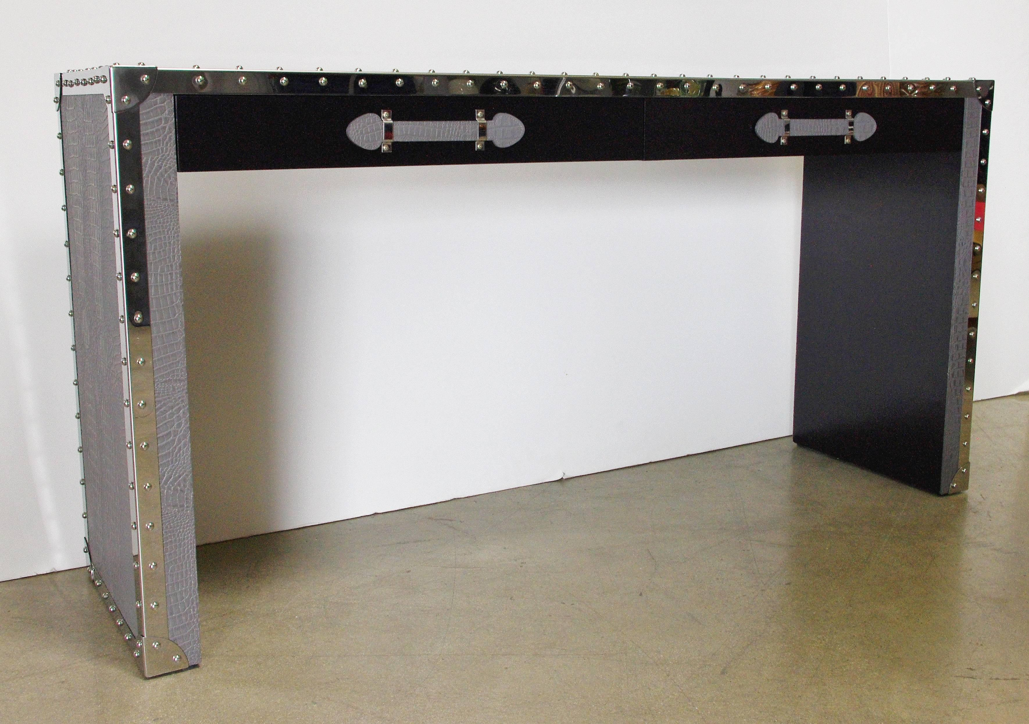 Asian Gray Leather And Studded Stainless Steel Console Table For Sale    Image 3 Of 7