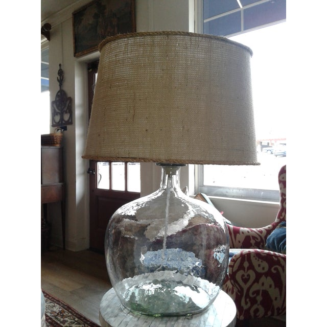 Clear Blown Glass Lamp W/ Burlap Shade For Sale - Image 4 of 6