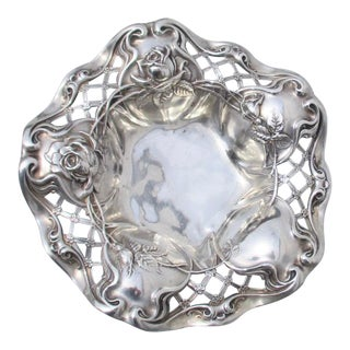 Late 19th Century Art Nouveau Sterling Silver Tray For Sale