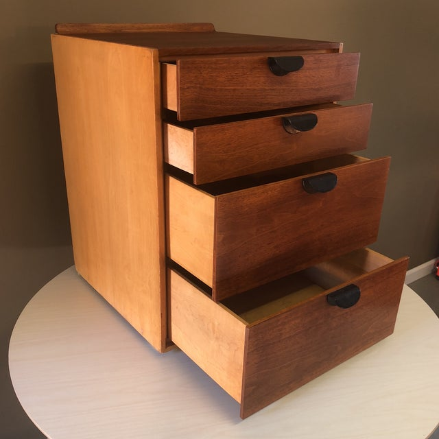 Contemporary Finn Juhl for Baker Furniture Four Drawer Walnut Cabinet For Sale - Image 3 of 13