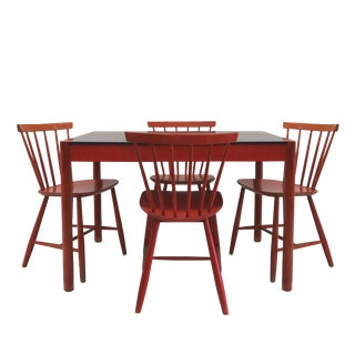 Poul M. Volther Chairs and Jørgen Baekmark Table Red Lacquer Dining Set For Sale