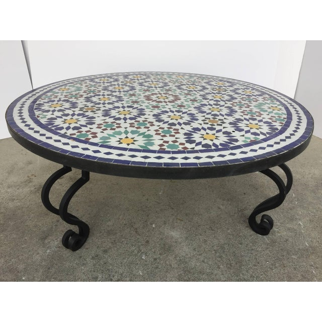 Miraculous Moroccan Mosaic Round Tile Coffee Table On Iron Base Theyellowbook Wood Chair Design Ideas Theyellowbookinfo
