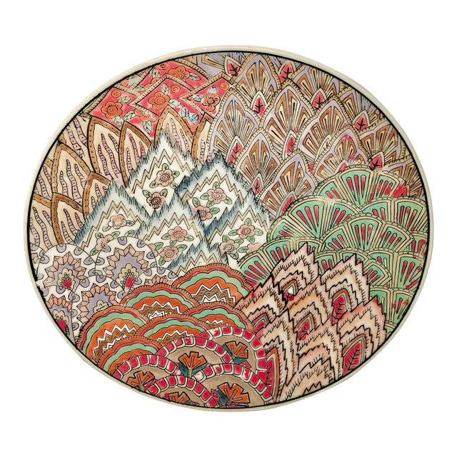 Chinese Art Deco Hand Painted Plate For Sale