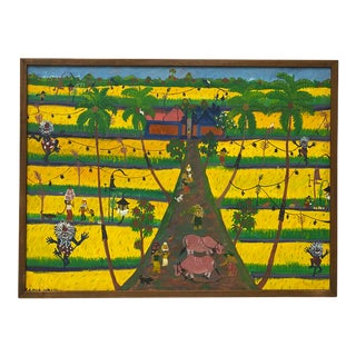 Vintage Haitian Painting C.1960 For Sale