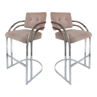 Milo Baughman Stainless Steel Bar Stools for Dia -A Pair For Sale