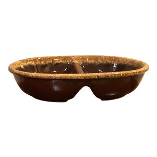 Final Price! Mid 20th Century Vintage Brown Split Serving Bowl For Sale